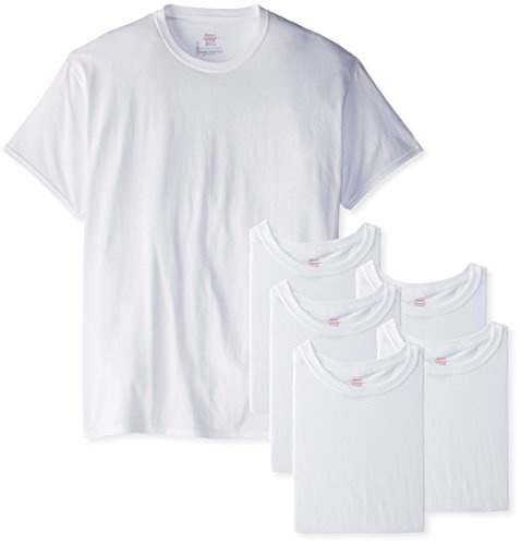 Hanes Men's 6-Pack FreshIQ FreshIQ Crew T-Shirt, White, Medium