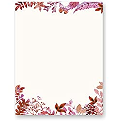 Stationery Writing Paper - Perfect Invitations for Bridal Shower, Birthday, Wedding, Engagement Party, VIP, and All Occasions - 100 Set Floral Letter Notes for DIY Invitation Kit - Pinkish Spring Life