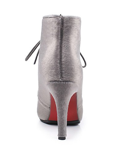 noir Gris Cn34 Habillé Décontracté bottine Mode Eu35 Xzz Femme Uk3 Bout À Pointu us5 Black Rouge Chaussures Aiguille bureau Travail Bottes amp; La talon X0Azqg