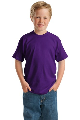 - Hanes 5.2 oz Youth COMFORTSOFT HEAVYWEIGHT 50/50 T-Shirt, XL-Purple