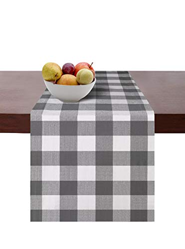 Cotton Clinic Set of 2 Gingham Buffalo Check Table Runners Farmhouse 90 Inch, 14x90 Cotton Wedding Table Runners, Rustic Bridal Shower Decor Dining Table Runners Gray White ()