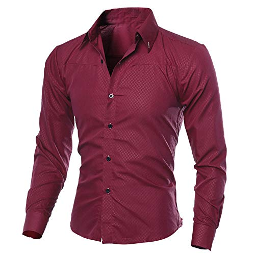 POQOQ Henley Shirts Men Casual 3/4 Sleeve Linen T-Shirt High Low Solid Beach Yoga Top Long Sleeve V-Neck Wash Contrast Seam Vintage M Wine]()