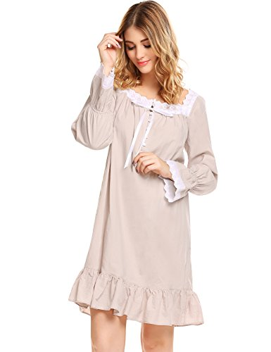 Avidlove Womens Cotton Victorian Nightgowns Romantic Long Bell Sleeve Nightshirt - Victorian Eyelet