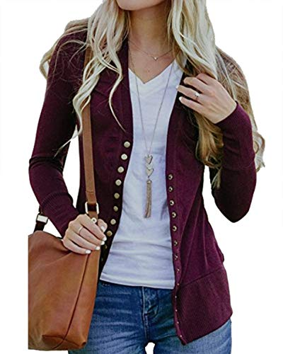 Solid V-neck Buttons - Tracpos Women's V-Neck Solid Button Front Knitwears Long Sleeve Casual Cardigans Sweater Wine Red XXL