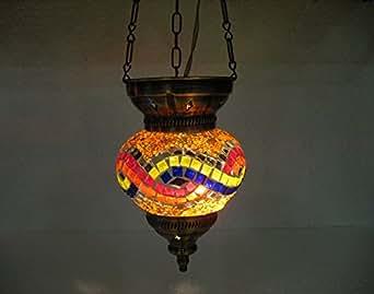 orange moroccan lantern mosaic hanging lamp. Black Bedroom Furniture Sets. Home Design Ideas