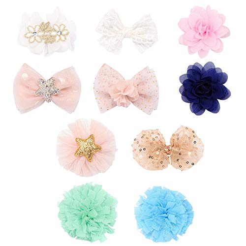 Baby Girl Chiffon Hair Bow Clips for Baby Girls Toddlers Kids Flower Hair Barrettes Bows Hairpin Set Hair Accessories,10 Pcs