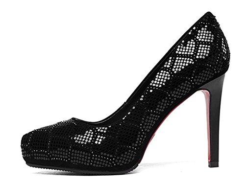 de Pompes EUR38UK55 Chaussure Chaussures Doigt Suède Haute Talon Tribunal Fermé Pied sur Stylet BLACK de Robe Fête Femmes NVXIE Boîte Caleçon Nuit wqYC11