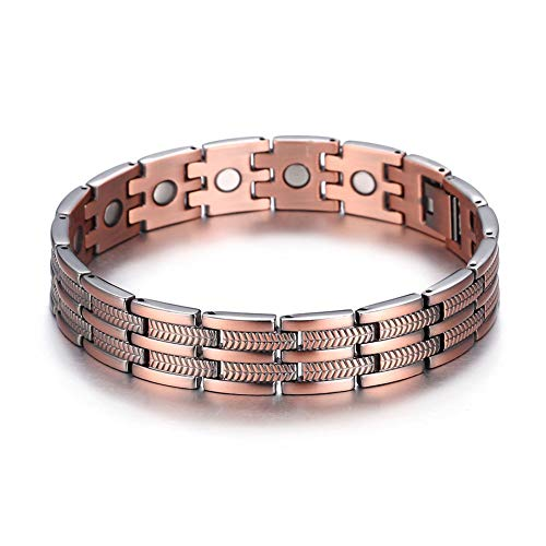 Cars Wristbands (Kintao Mens Copper Double Row Magnetic Bracelets for Arthritis Wristband Adjustable)