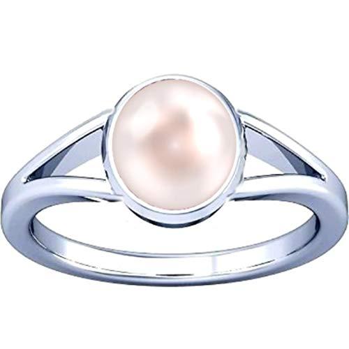 - Divya Shakti 12.25-12.50 Carats Pearl Silver Ring (Moti/Mukta Silver Ring) 100% Original AAA Quality Gemstone