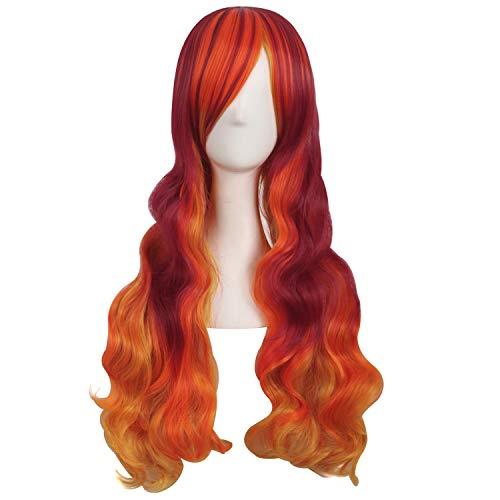 MapofBeauty 28 Inch/70cm Beautiful Long Wavy Harajuku Style Cosplay Wig (Fluorescent Orange/Blood Red/Orange Yellow) -