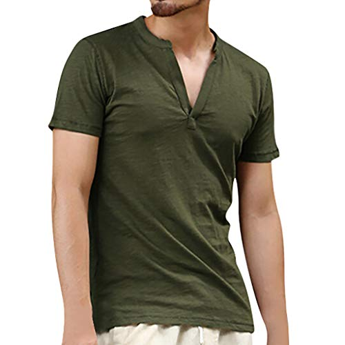 LUCAMORE Men Linen Shirts Casual V-Neck Short Sleeve Basic Summer Beach Shirts Yoga Top Blouse Tee Army Green