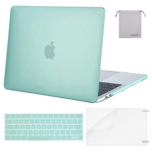 MOSISO Plastic Hard Shell & Keyboard Cover & Screen Protector & Storage Bag Compatible Newly MacBook Pro 15 Inch, Pure Green