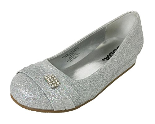 Lustacious Kid's Girly Round Toe Front Top Diamond Broach Low Wedge Slippers, silver glitter, 10 T