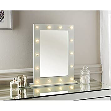 LIGHT UP DRESSING TABLE HOLLYWOOD MIRROR LED BULBS MAKE UP VANITY 50CM  WOODEN