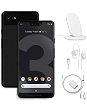 Google Pixel 3 Unlocked Smartphone - 64GB Memory Cell Phone, Just Black, w/Charging Stand, Wired Earbuds and Google Charger - Bundle Set