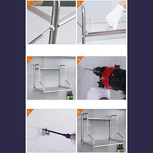 SMBYLL Edelstahl-Doppelregal-K/üchenablage 53 Farbe : B, gr/ö/ße : 53cm 37 48cm Mikrowellenhalterung