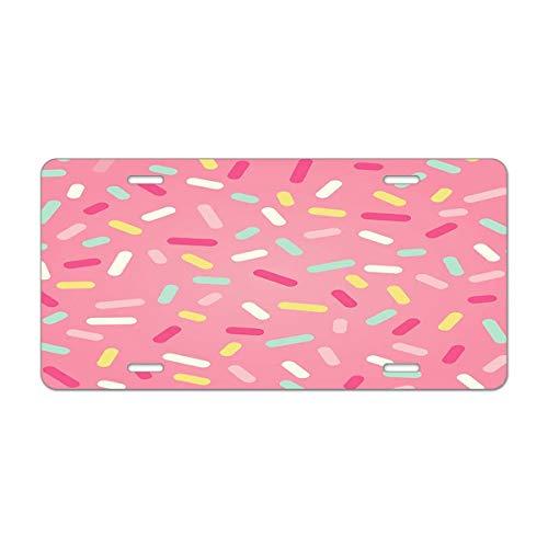(Mugod Pink Donut Glaze Aluminum License Plate Many Decorative Chocolate and Pink Sprinkles Decorative Car License Plate Cover with 4 Holes Car Tags 6