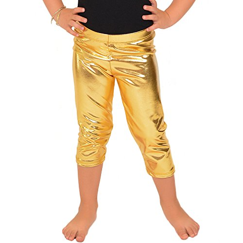 Stretch is Comfort Girl's Metallic Capri Leggings Gold Medium