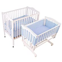 Breathablebaby- Breathable Bumper For Portable And Cradle Cribs, Blue