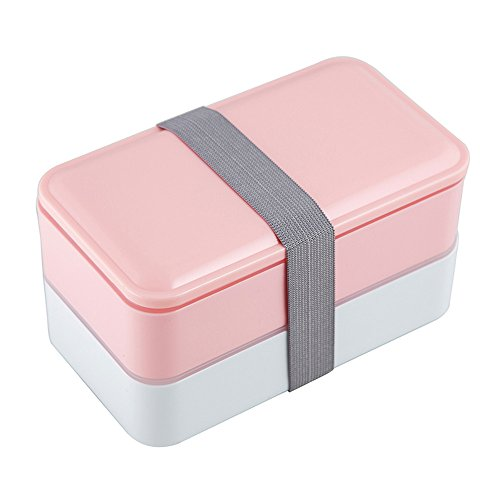 Bento box For Adults and Kids Japanese Lunch box Microwave Safe Stackable Portion Control with Cutlery Set PINK (Bento Box)