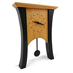 Contemporary American-Made Mantel Clock with Pendulum, Natural and Ebonized Cherry Wood, 17