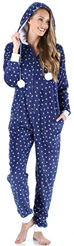 Frankie & Johnny Women's Sleepwear Fleece Onesie Pajamas, Triangles (FJ1171-1087-XS) -