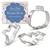 Ann Clark Cookie Cutters 3-Piece Halloween Cookie Cutter Set with Recipe Booklet, Bat, Pumpkin and Ghost