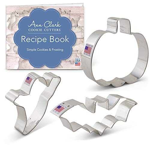 Halloween Cookie Cutter Set with Recipe Book - 3 piece - Bat, Pumpkin and Ghost - Ann Clark - USA Made Steel ()
