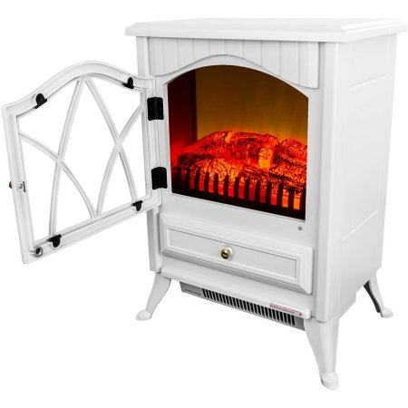 AKDY FP0004 16'' 1500W Heat Adjustable Freestanding Electric Fireplace Heater Stove, Elegant White by AKDY