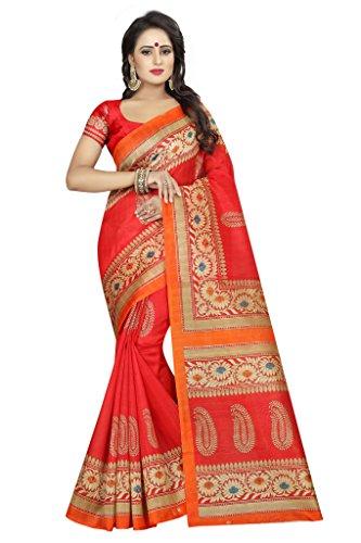 Shonaya Women`S Bhagalpuri Silk Printed Saree with Unstitched Blouse Piece (Red3) by Shonaya
