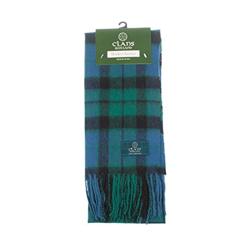 Clans Of Scotland Pure New Wool Scottish Tartan Scarf Mackay Ancient (One Size)