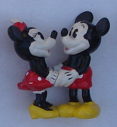 "Mickey & Minnie Mouse Traditional Clothing & Holding Hands 1990`s PVC Figure 2-1/4"" Tall"