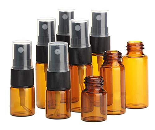 (3Peices 1/2 oz 15ML Amber Glass Spray Bottles Fine Mist Atomizer Container Sprayers Jar Pot With Black Pump And a Plastic Cover For Perfume Cologne Fragrance Parfums  Decant   Water Liquid )