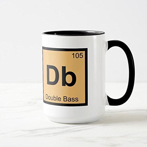Zazzle Db - Double Bass Music Chemistry Periodic Table Travel Mug, Black Combo Mug 15 oz