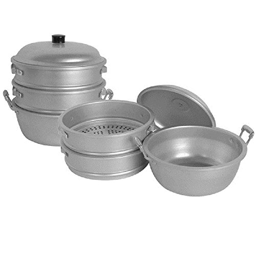 BIG HOLE STEAMERS W/ BOTTOM & LID HOLE SIZE 3/8'' ALUMINUM STEAMERS ASIAN COOKWARE RESTAURANT (50 cm 21'' x 25 1/2'') by AmGood