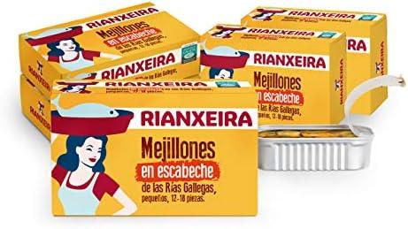 RIANXEIRA. Pack de 8 latas x 111g. de Mejillones en Escabeche Pequeños. Mejillones de las Rías Gallegas. DOP Mejillón de Galicia. Presentación 12-18 ...