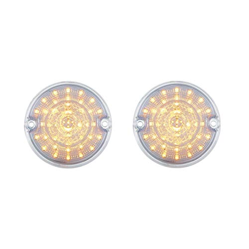 United Pacific 1955 1956 1957 Chevy Truck Amber Led Clear Lens Parking Lights, Pair - 55 56 57 ()