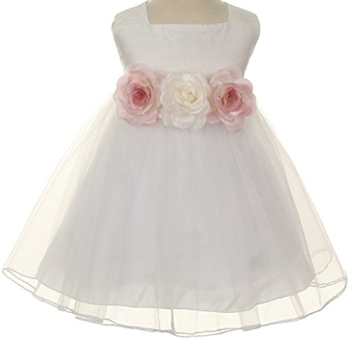 Classic Silk Bodice Elegant Waist Little Girl Flower Girls Dresses (13KD5) White 6