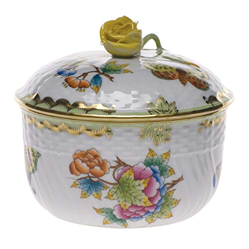 Herend Queen Victoria Green Porcelain Covered Sugar With -
