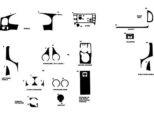 Parts Ford Diagram Ranger (Rdash Dash Kit Decal Trim for Ford Ranger 1995-2002 - Wood Grain (Burlwood Dark))