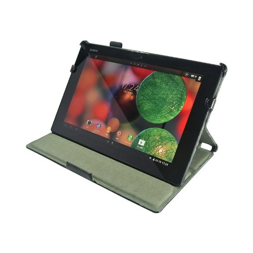 VSTN Sony Xperia Tablet Z SO-03E Multi-Angle Stand Slim-LINE Folio PU Leather Cover Case with Hand Strap