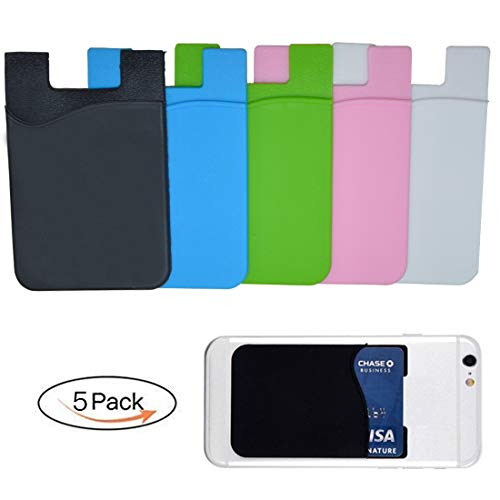 - CLORIS 5 Pack Cell Phone Wallet Stick On, Protable Card Holder Adhesive Card Sleeve Silicone Card Pouch Stick on Phone Works with iPhone/Samsung Galaxy/Sony/Huawei and Most Smart Phones (5 Pack)