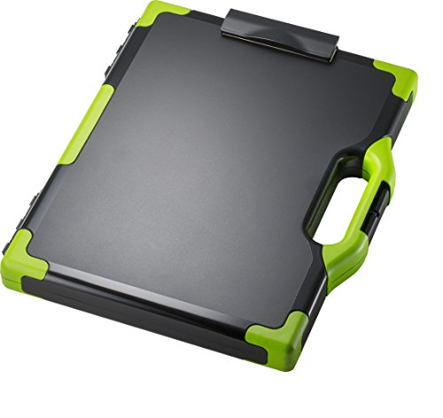 Officemate OIC Carry-All Clipboard Storage Box, Letter/Legal Size, Black & Green (83325) ()