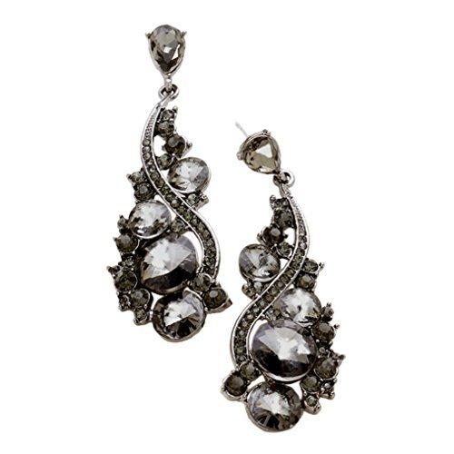 Dance Recital Costumes Rack (Rosemarie Collections Women's Crystal Rhinestone Bauble Evening Earrings (Black))