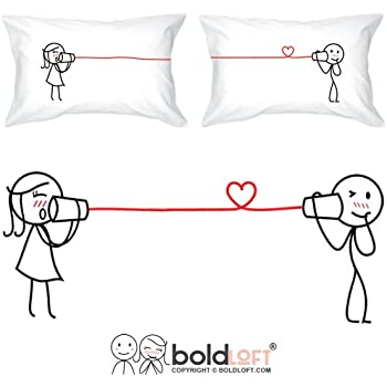 """BOLDLOFT """"Say I Love You Too"""" His & Hers Couples Pillowcases-Matching Couples Gifts,Valentines Day Gifts for Girlfriend Boyfriend"""