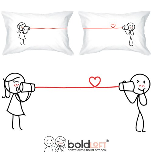 BoldLoft Say I Love You Too Couple Pillowcases| Boyfriend Gifts for Christmas| Husband Gifts from Wife| Couples Gifts for Him and Her| Romantic Gifts for Him| Love Gifts for Boyfriend (1st Married Quotes Christmas)