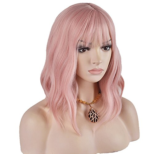 RightOn 14 Inches Women Girls Short Curly Synthetic Wig with Air Bangs Lovely Pink, 230 Grams
