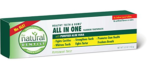 The Natural Dentist All In One Fluoride Toothpaste fights cavities, whitens teeth, strengthens tooth enamel, fights tartar and freshens breath 5.0 oz (142 g)