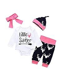 Perman 3PCS Newborn Baby Girls Boys Letter Romper+Camouflage Pants+Hat Sets