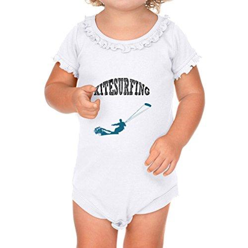 Kitesurfing Style 1 Sport Cotton Short Sleeve Scoop Neck Girl Sunflower Ruffle Baby Bodysuit - White, 6 Months